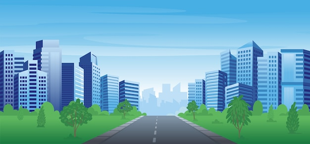 Urban landscape with skyscrapers, buildings and park. Premium Vector