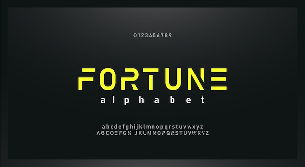 Urban modern  future alphabet font and number set
