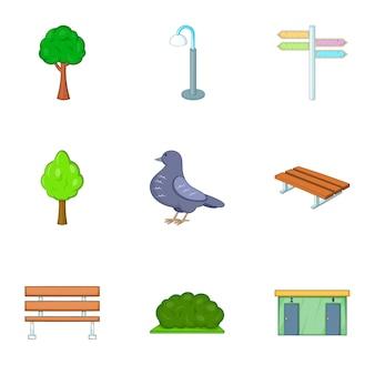 都市の屋外装飾アイコンセット、漫画のスタイル