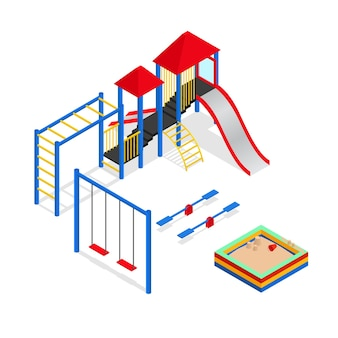 Urban outdoor playground elements set isometric view park square for leisure kids.  illustration
