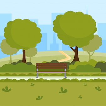 Urban park cartoon vector illustration. outdoor leisure on nature public place, green trees, wooden benches