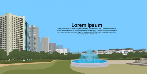 Urban park decorative fountain over cityscape city buildings landscape view horizontal illustration