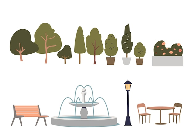 Urban park elements set with trees, bushes, flowers, bench, torch and fountain. city green space concept. cartoon outdoor decoration collection. flat vector illustration