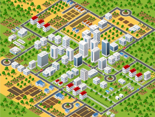 도시 계획 패턴 맵. 도시 건물, 고층 빌딩, 거리 및 나무의 등각 투영 조경 구조.