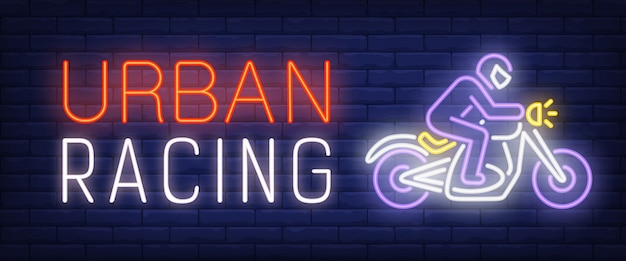Urban racing neon text with biker riding motorcycle