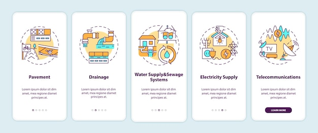 Urban resource supply onboarding mobile app page screen with concepts illustrations