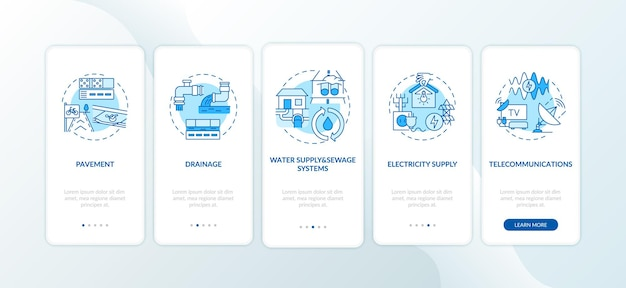 Urban resource supply onboarding mobile app page screen with concepts