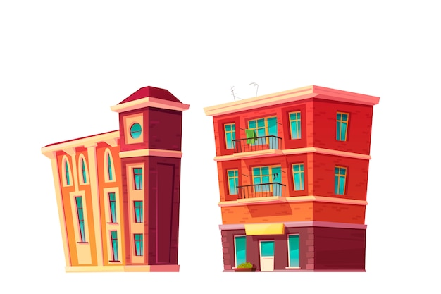 Urban retro building cartoon set