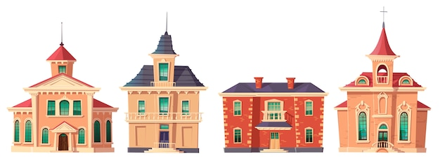 Urban retro colonial style building cartoon
