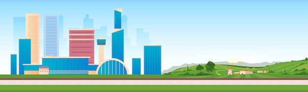 Urban and rural areas flat color vector illustration. modern infrastructure next to countryside 2d cartoon landscape. skyscrapers and country houses view.