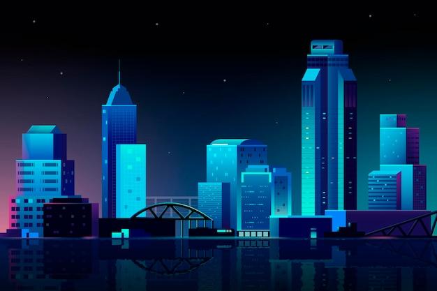 밤 배경에서 도시 장면