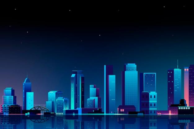 밤에 도시 장면