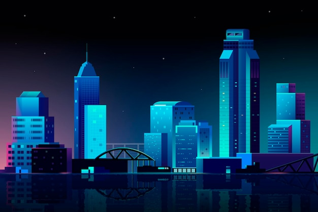 Scena urbana di notte sullo sfondo