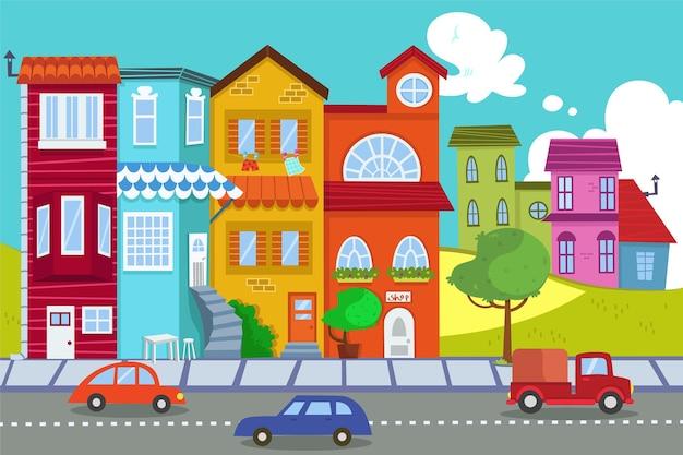 Urban scene vector illustration
