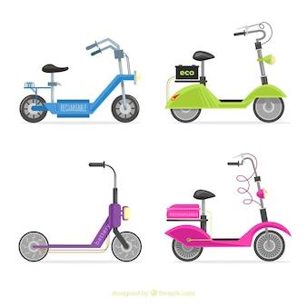 Городские скутеры с красочным стилем Бесплатные векторы
