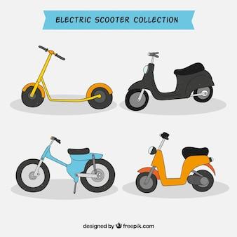手描きのスタイルの都市のスクーター