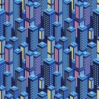 Городской бесшовные модели в неоновом фиолетовом