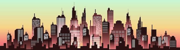 Городские панорамы силуэта в вечернем закате. векторная иллюстрация городской пейзаж.