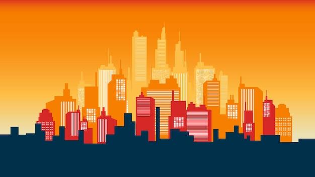 아침 하늘에 도시 실루엣 파노라마입니다. 벡터 도시 지평선 그림입니다.