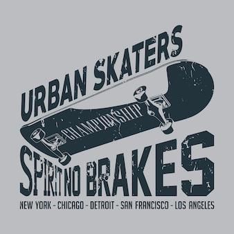 スローガンスピリットブレーキなしのアーバンスケーターポスター