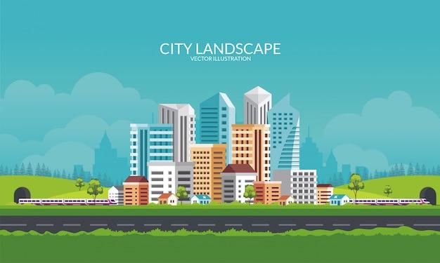 都市のスカイラインのパノラマイラスト