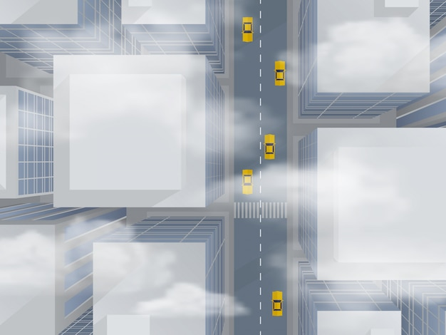 Urban skyscrapers through the smog