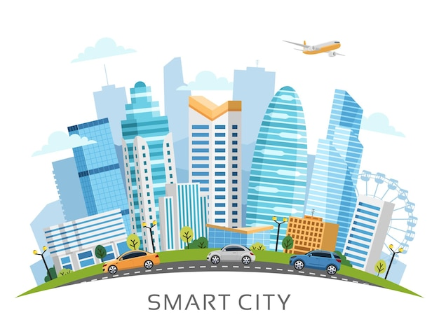 Urban smart city landscape arranged in arch with buildings, skyscrapers and transport traffic.  illustration