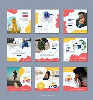 Шаблон сообщения в городских социальных сетях для цифрового маркетинга и промо современной модной рекламы