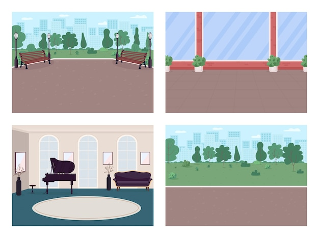 Urban street and luxury house flat color  set. park walkway. place for recreation 2d cartoon interior, landscape with house walls, city skyline on background collection