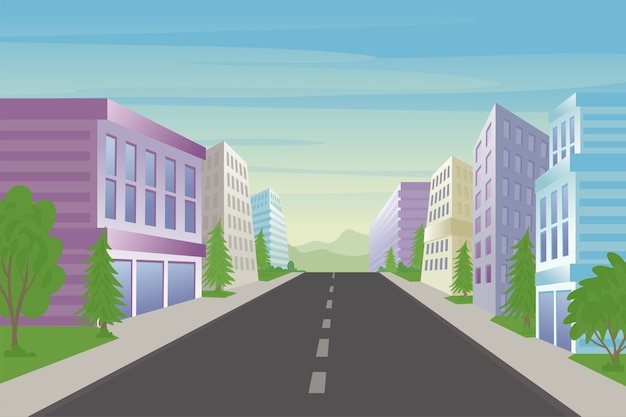 Urban street and office buildings