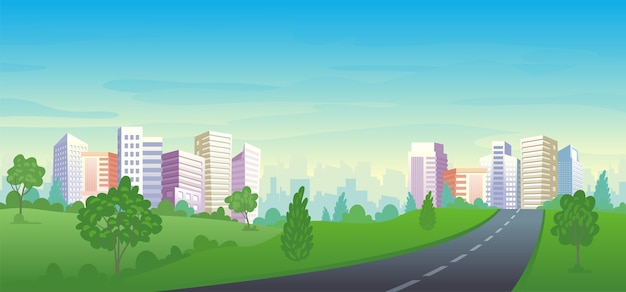 Urban street with panorama city park landscape, houses, and office buildings. Premium Vector