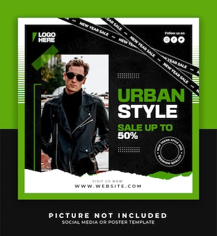 Urban style fashion men poster or social media and instagram post template with green colors