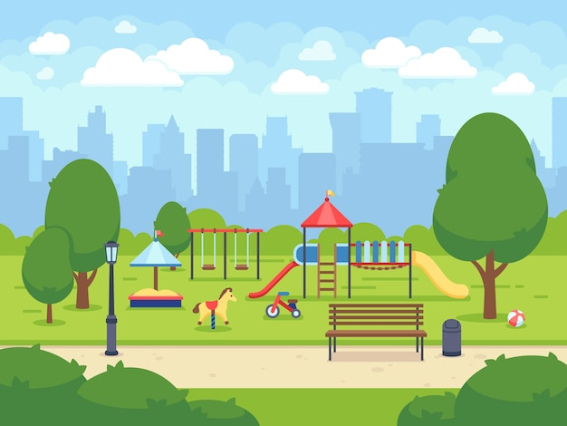 Urban summer public garden with kids playground. cartoon vector city park with cityscape. green park cartoon, landscape summer park illustration