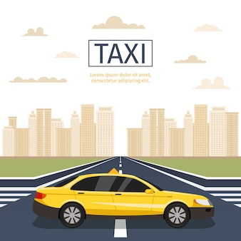 Urban taxi. yellow cab on cityscape with clouds