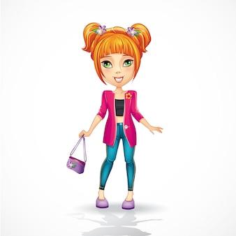 ピンクのジャケットの都市の十代の少女