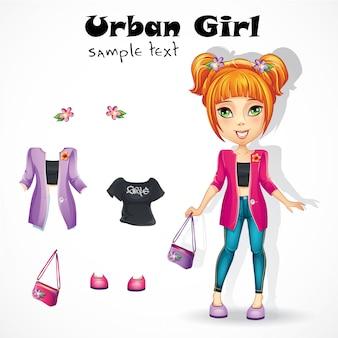 ピンクのジャケットの都市の十代の少女。