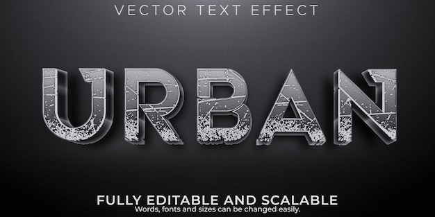 アーバンテキスト効果、編集可能な通り、建物のテキストスタイル
