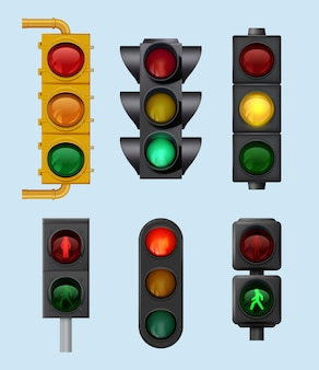 도시 신호등. 도로 교차 방향 벡터 현실적인 세트에 대한 도시 차량 조명 개체에 대한 표지판. 그림 사거리 컨트롤러, 가벼운 교통 도로