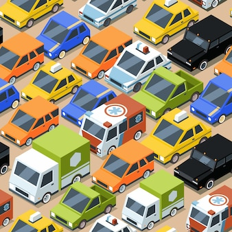 Urban traffic pattern. jammed city transport cars buses van seamless pattern