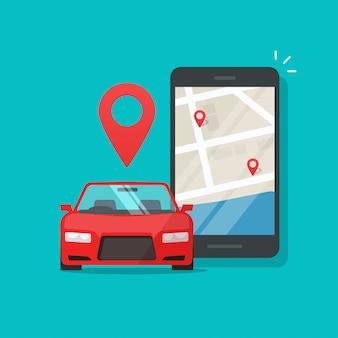 휴대 전화 도시지도가있는 휴대 전화의 자동차 차량 공유 앱으로 도시 교통 위치