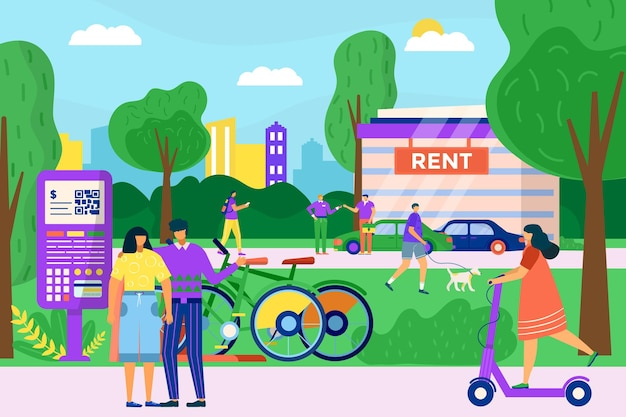 都市交通サービスは、自転車スクーターと自家用車を一緒に借りる人々のキャラクターを借ります...