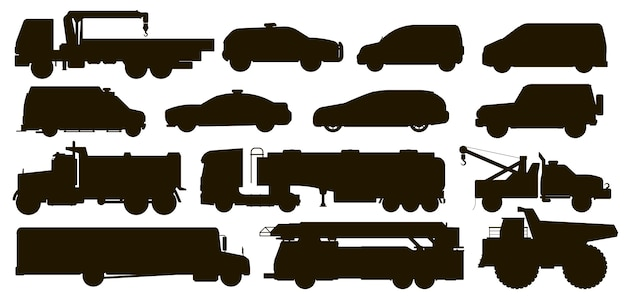 도시 교통 설정합니다. 시 공공 특별 서비스 자동차 차량 실루엣. 격리 된 경찰, 구급차 자동차, 스쿨 버스, 견인, 덤프, 소방차, 택시, 반 평면 아이콘 모음. 도시 자동차 운송