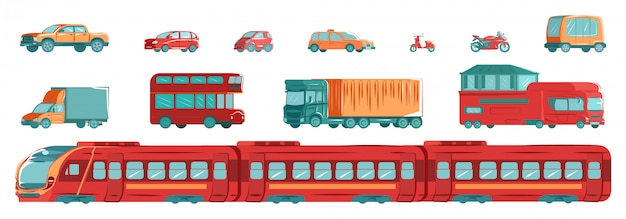 Urban transport set with subway, tram, cars and tracks in flat design  illustration isolated on white set.