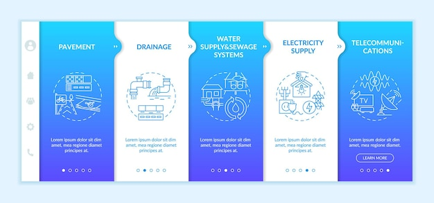 Urban utility and facility service onboarding  template. street pavement. drainage system. responsive mobile website with icons. webpage walkthrough step screens. rgb color concept