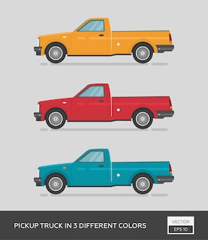 Urban vehicle. pickup truck in 3 different colors. cartoon flat auto