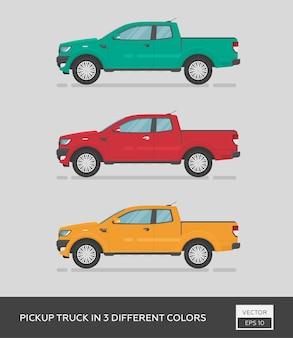 Городской автомобиль. пикап в 3-х разных цветах. мультяшный плоский автомобиль