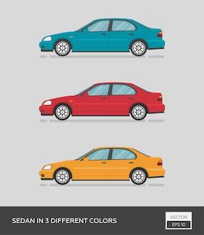 Городской автомобиль. спорткар в 3-х разных цветах. мультяшный плоский автомобиль