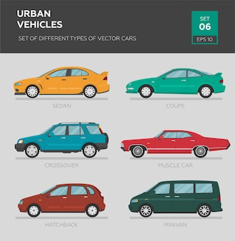 Urban vehicles. set of different types of vector cars sedan