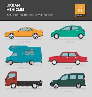 Urban vehicles. set of different types of vector cars sedan