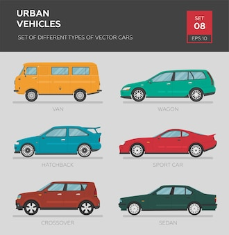 Городской транспорт. набор различных типов векторных автомобилей седан